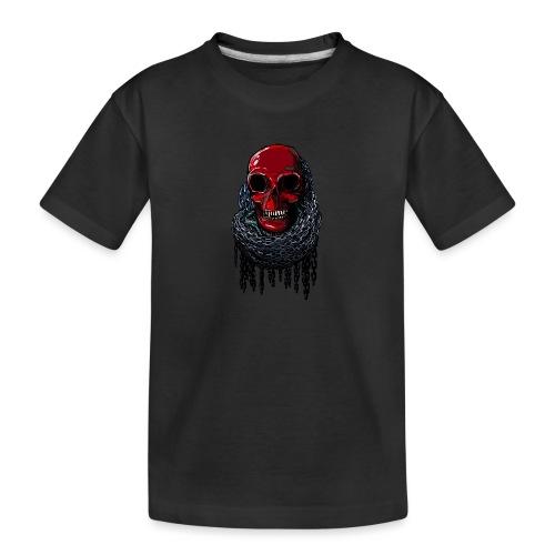 RED Skull in Chains - Teenager Premium Organic T-Shirt