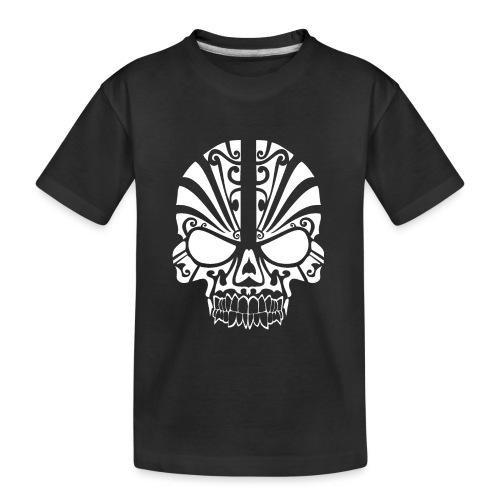 Tribal Skull white mit Logo - Teenager Premium Bio T-Shirt
