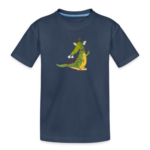 Drachenkrokodil mit weißem Logo - KlingBim - Teenager Premium Bio T-Shirt