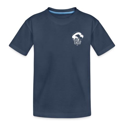 Sea of red logo - white small - Teenager Premium Organic T-Shirt