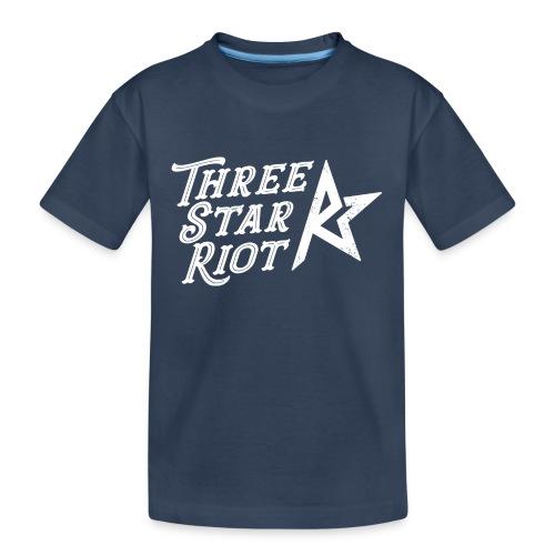 Three Star Riot logo vaalea - Teinien premium luomu-t-paita
