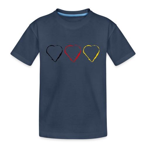 3 Herzen Deutschland #1 - Teenager Premium Bio T-Shirt
