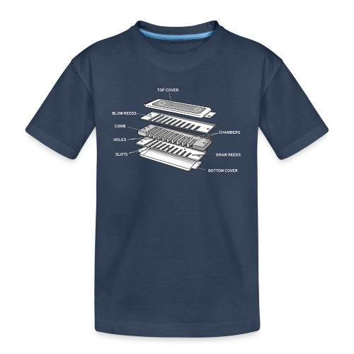 Exploded harmonica - white text - Teenager Premium Organic T-Shirt