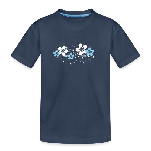 white and blue floral print - Ekologiczna koszulka młodzieżowa Premium