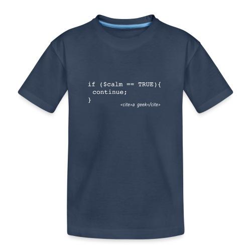 Coder's Keep Calm (with white text) - Teenager Premium Organic T-Shirt