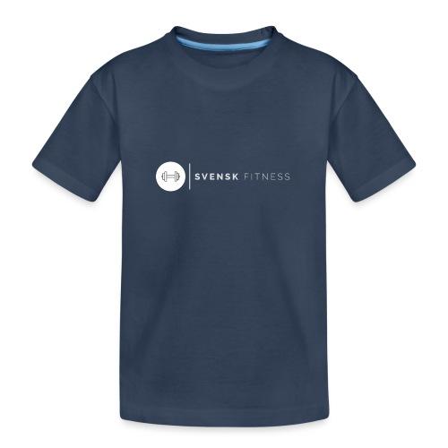 Linne med vit vertikal logo - Ekologisk premium-T-shirt tonåring