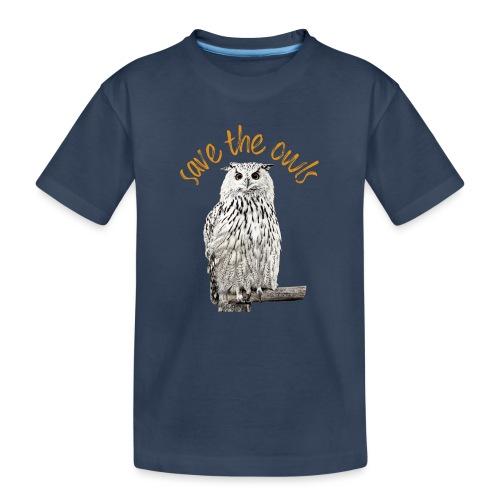 Snowy Owl Save the Owls Photo Art - Teenager Premium Organic T-Shirt