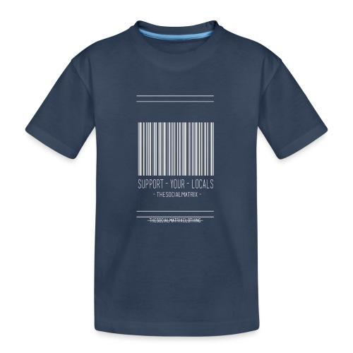STEUN JE PLAATSELIJKE [WIT] - Teenager premium biologisch T-shirt