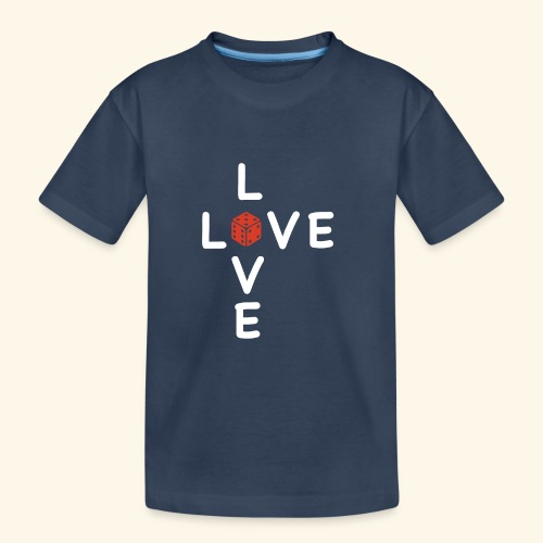 LOVE Cross white wuerfel red 001 - Teenager Premium Bio T-Shirt