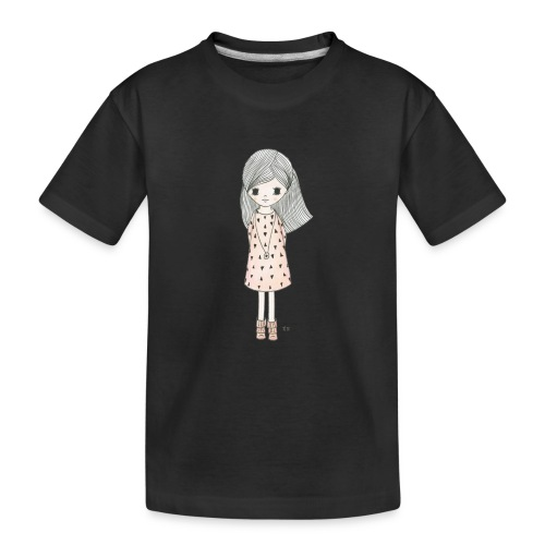 meisje met roze jurk - Teenager premium biologisch T-shirt