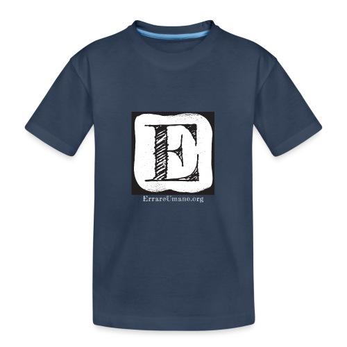 Logo ErrareUmano con scritta bianca - Maglietta ecologica premium per ragazzi
