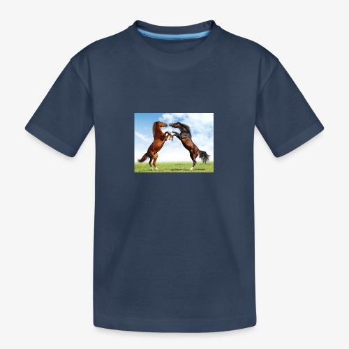 kaksi hevosta - Teinien premium luomu-t-paita