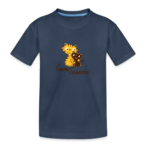 Große Schwester Katzen - Teenager Premium Bio T-Shirt