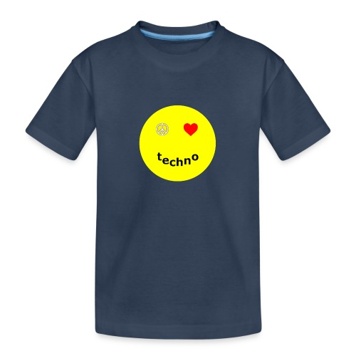 camiseta paz amor techno - Camiseta orgánica premium adolescente