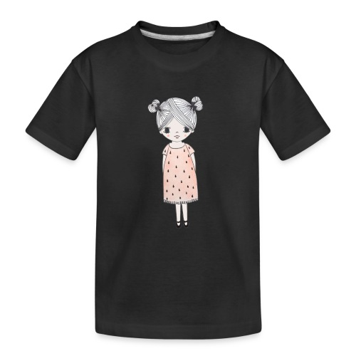 lachend meisje met knotjes - Teenager premium biologisch T-shirt