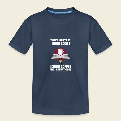 Buch und Kaffee, hell - Teenager Premium Bio T-Shirt