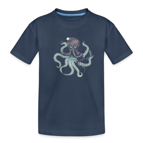 Oktopus mit weißem Logo - KlingBim Kinderlieder - Teenager Premium Bio T-Shirt