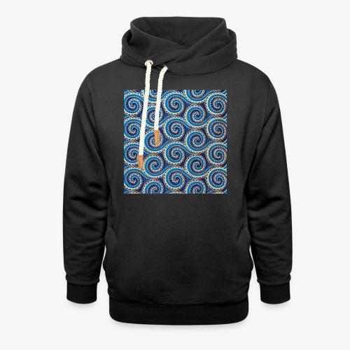 Spirales au motif bleu - Sweat à capuche cache-cou