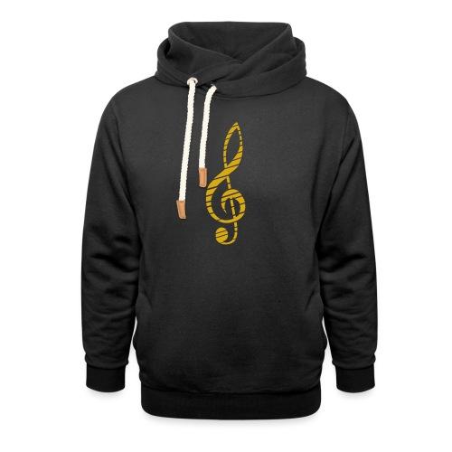 Goldenes Musik Schlüssel Symbol Chopped Up - Shawl Collar Hoodie