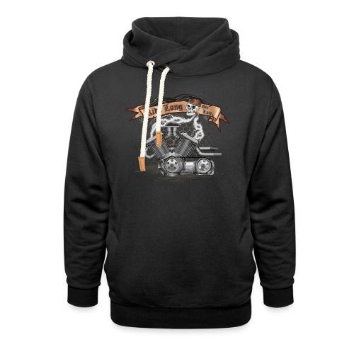 Biker T-shirt mit V Motor & Totenkopf - Schalkragen Hoodie
