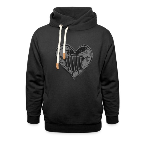 Corazón Negro - Sudadera con capucha y cuello alto