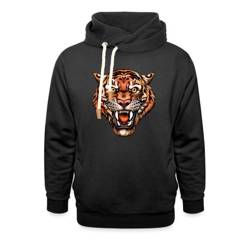 Tiger im Tattoo-Stil - Unisex Schalkragen Hoodie