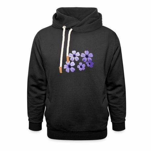 Blumen blau - Schalkragen Hoodie