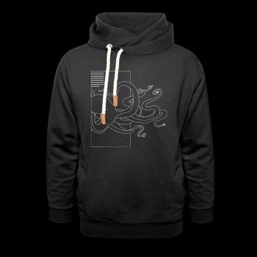 Tintenfisch-Logo Weiss - Unisex Schalkragen Hoodie