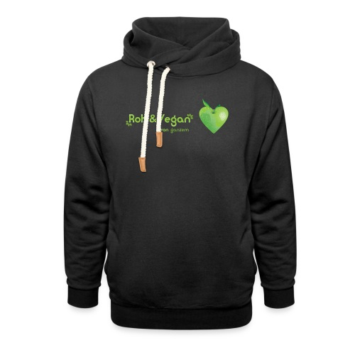 Roh & Vegan grünes Apfelherz (Rohkost) - Schalkragen Hoodie