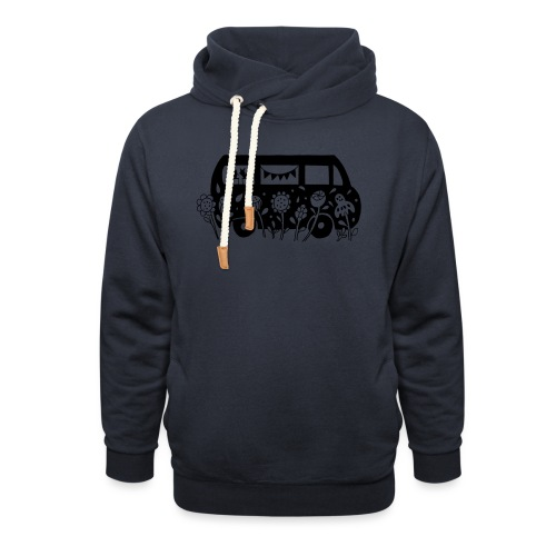 Flower Power Bus Liebe Florale Illustration - Schalkragen Hoodie
