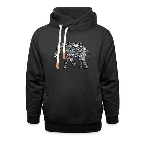 Elefant, gemustert - Schalkragen Hoodie