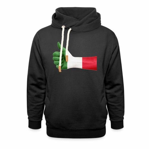 Italienische Flagge auf Daum - Schalkragen Hoodie