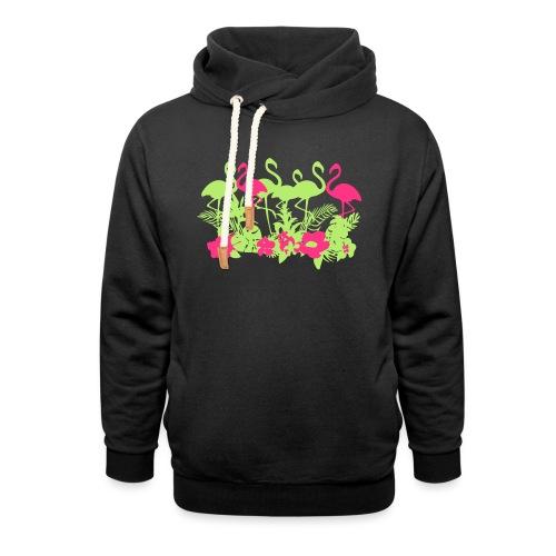 AL Dschungel Flowers & Flamingo - Schalkragen Hoodie