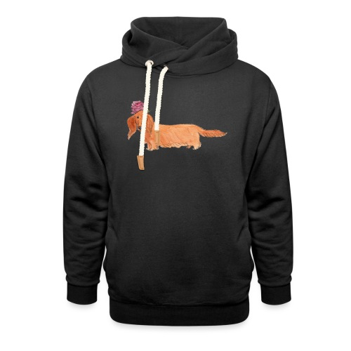 dachshund with flower - Hoodie med sjalskrave