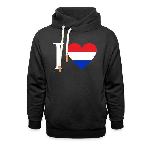 Ik hou van Nederland | Hart met rood wit blauw - Sjaalkraag hoodie