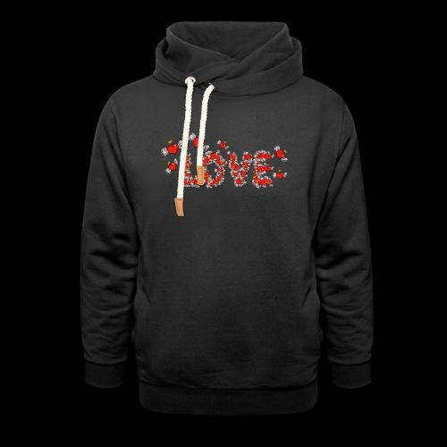 Flying Hearts LOVE - Hoodie med sjalskrave