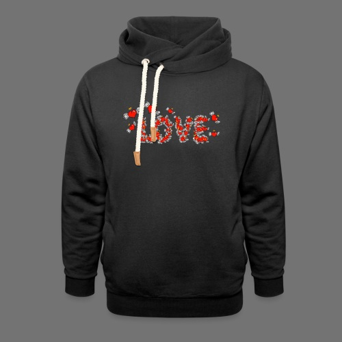 Flying Hearts LOVE - Unisex hoodie med sjalskrave