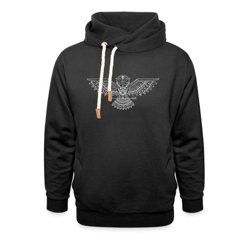 grafische uil wit - Sjaalkraag hoodie