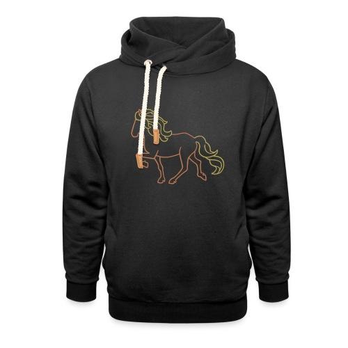 Islandpferd, braun - Schalkragen Hoodie