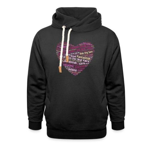 Hjerte - Unisex hoodie med sjalskrave