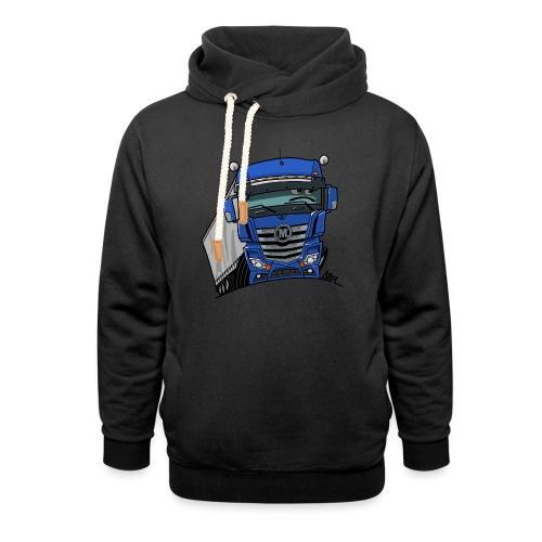 0807 M truck blauw trailer - Sjaalkraag hoodie