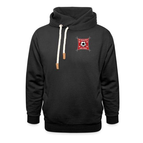 Logo bunt / Schrift rot - Schalkragen Hoodie
