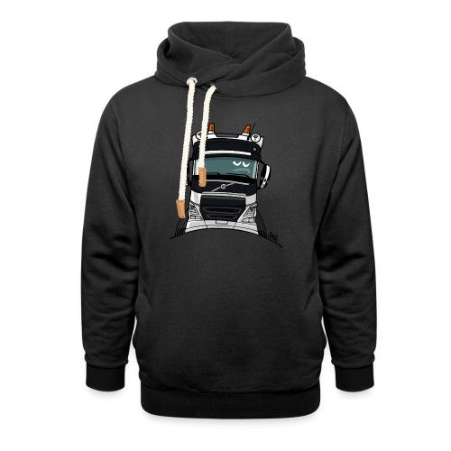 0488 V truck wit - Sjaalkraag hoodie