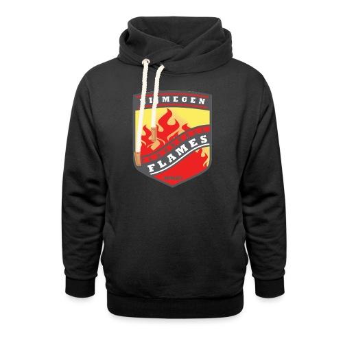 Hoodie Black - Red inner contrast - Unisex sjaalkraag hoodie