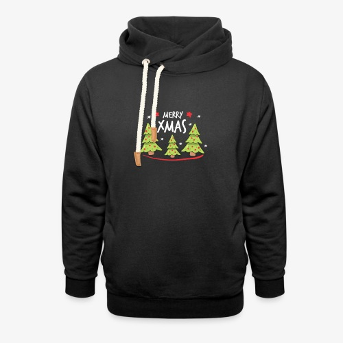 Fir trees and Merry Xmas - Unisex Shawl Collar Hoodie