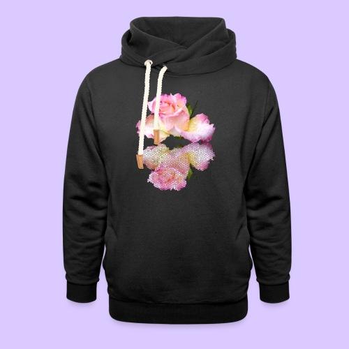 pinke Rose mit Regentropfen im Spiegel, rosa Rosen - Unisex Schalkragen Hoodie