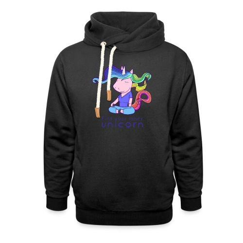 Yoga unicorn in the Lotus - Shawl Collar Hoodie