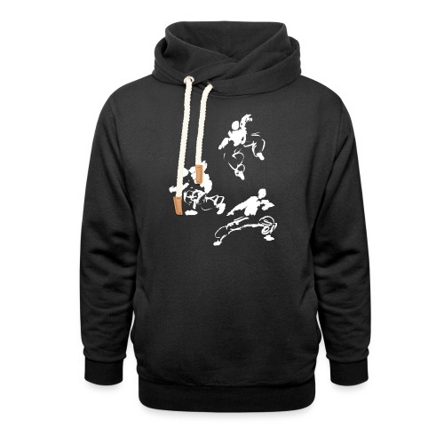 Kung fu circle / ink fighter in motion - Shawl Collar Hoodie