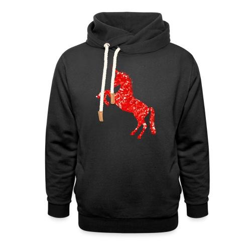 unicorn red - Bluza z szalowym kołnierzem unisex