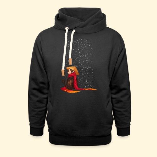 Un singe en hiver sous la neige - Sweat à capuche cache-cou